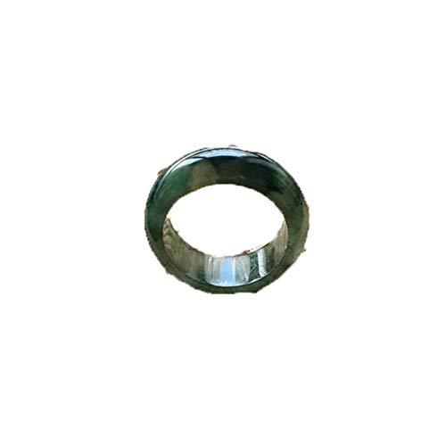 KTT Fengshui Natürliches Eisöl Smaragd Jade Ring Chinesischer Edelstein Heilende Energie Reichtum anziehen Viel Glück 14mm