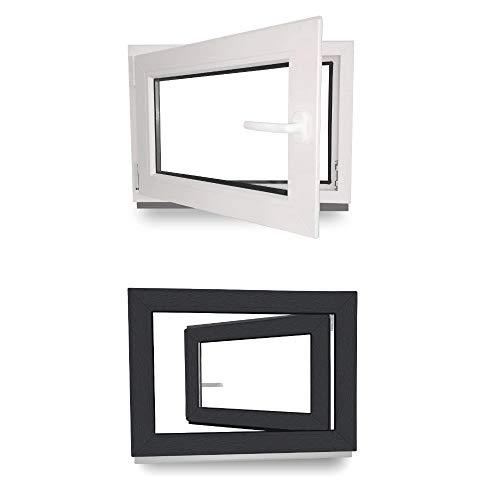 Kellerfenster - Kunststoff - Fenster - innen weiß/außen anthrazit - BxH: 120 x 60 cm - 1200 x 600 mm - DIN Links - 3 fach Verglasung - 60 mm Profil