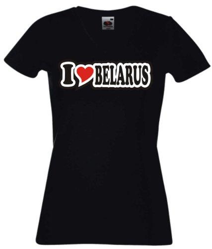 T-Shirt Damen - I Love Heart - V-Ausschnitt I LOVE BELARUS Schwarz