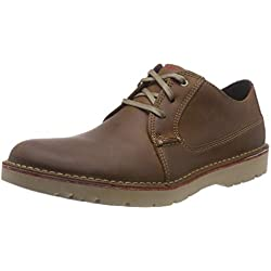 Clarks Vargo Plain, Zapatos de Cordones Derby para Hombre, Marrón (Dark Tan Leather), 42.5 EU