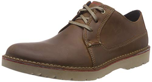 Clarks Vargo Plain, Zapatos de Cordones Derby para Hombre, Marrón (Dark Tan Leather), 48 EU