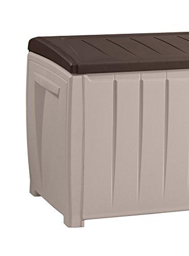 Keter 6007N Novel Storage Box, Auflagen und Universalbox mit Sitzgelegenheit, 340 Liter, beige / braun - 7