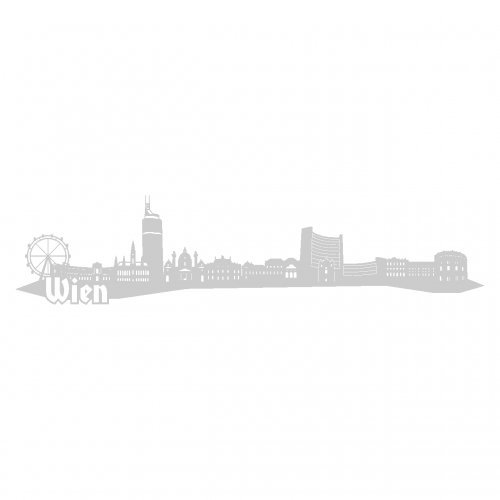Wandtattoo Wien Skyline Wandaufkleber in 6 Größen und 19 Farben (230x52cm silbermetalleffekt)