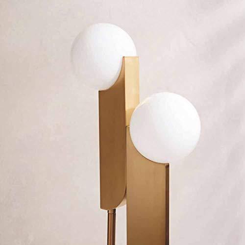 FHTD Metall Stehleuchte Nordic Persönlichkeit Schlafzimmer Nachttisch Wohnzimmer Vertikale Lampe Vergoldete Dekorative Doppelkopf Milch Weiß Glaskugel Stehlampe - Bernstein Metall-stehlampe