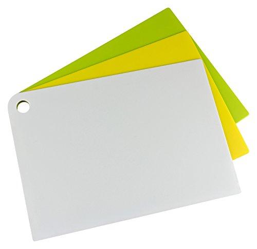 Kigima Schneidbretter flexibel Slim-Line 3er Set groß 34x24 cm weiß/gelb/grün
