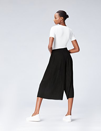 FIND Culottes Damen mit verkürztem und weitem Bein, Plissee-Falten und elastischem Bund, Schwarz (Black), 42 (Herstellergröße: X-Large) - 3