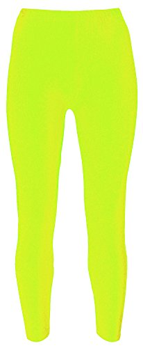 Re Tech UK - Mädchen Leggings - für Gymnastik, Tanzen & Ballett - glänzend - elastisch - Neongelb - 7-8 ()