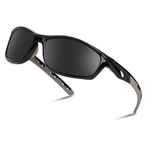 Occffy Polarisierte Sportbrille Sonnenbrille Fahrradbrille mit UV400 Schutz für Herren Autofahren Laufen Radfahren Angeln Golf OC001 (Schwarze Rahmen mit Schwarze Linse)