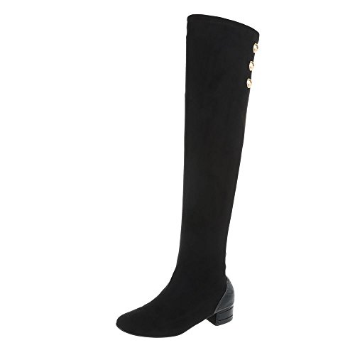 Ital-Design Overknees Damenschuhe Overknees Blockabsatz Blockabsatz Reißverschluss Stiefel Schwarz JU1021