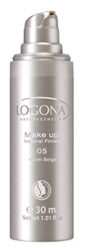 Warm Beige Foundation (LOGONA Naturkosmetik Make-up Natural Finish No. 05 Warm Beige, Dunkler Hautton, Foundation mit Anti-Aging-Pflege, leichte bis mittlere Deckkraft, Bio-Extrake, Vegan, 30 ml)