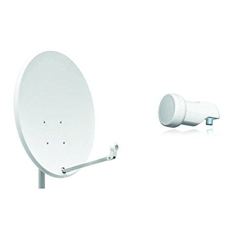 Opticum X80 Satelliten-Antenne (80 cm, Stahl - lichtgrau, TÜV zertifiziert, mit Single LNB LSP-02G)