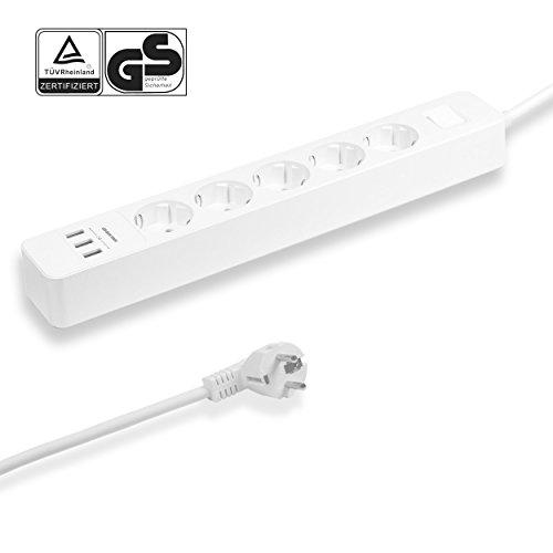 Steckdosenleiste mit USB Überspannungsschutz, Mehrfachsteckdose mit Schalterfunktion, 5 Steckdosen und 3 USB-Ladeanschlüssen für Smartphone Tablets, 1,5m Anschlusskabel, geeignet für Wandmontage