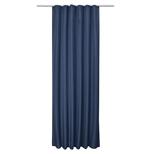 Beautissu Fenster Vorhang Kräuselband-Vorhang Amelie - 140x245 cm Blau - Dekorative Gardine Universalband Fenster-Schal