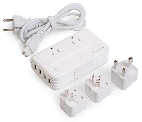 Bronson Spannungswandler 220V auf 110V Reise-Adapter USA Deutschland Konverter Transformator 200 Watt 2 US-Steckdosen 4 USB-Anschlüsse