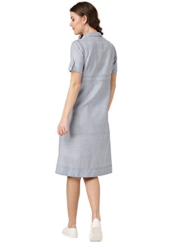 Desi-Fusion-Women-Blue-Self-Design-A-Line-Handloom-Dress