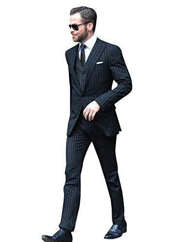 CALVINSUIT Herren Männer 3 Stück Anzug Streifen Slim Fit Zwei Tasten Peak Revers Smoking - Peak Revers Weste