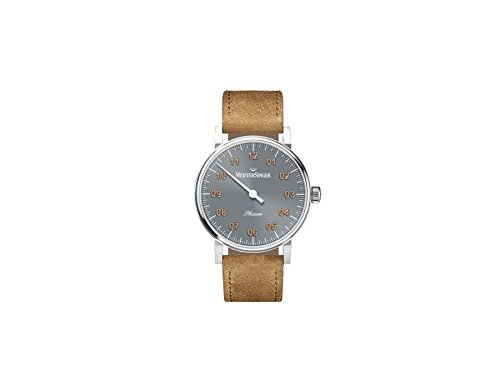 Meistersinger Women's Phanero 35mm Brown Leather Band Steel Case Mechanical Grey Dial Analog Watch PH307G