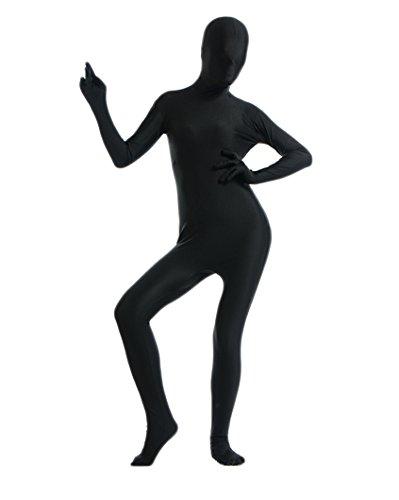 Fasching Ganzkoerper Anzug Suit Catsuit Komplett Zentai Zweite Haut Kostuem Schwarz (Zweite Haut Kostüm Größentabelle)