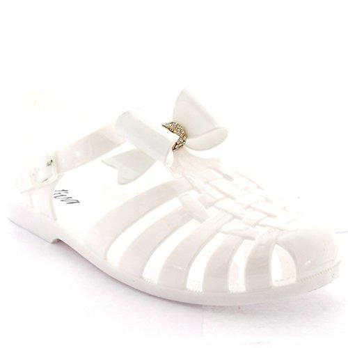 Damen Gelee Schuhe Festival Schnalle Diamante Bogen Gladiator Sandalen Weiß