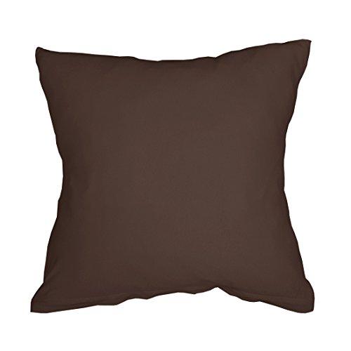 Qool24 Jersey Kissenbezug Baumwolle mit Reißverschluss Kissenhülle Kopfkissen Bezug Hülle 11 Maßen und 8 Farben Braun 50x50 cm -