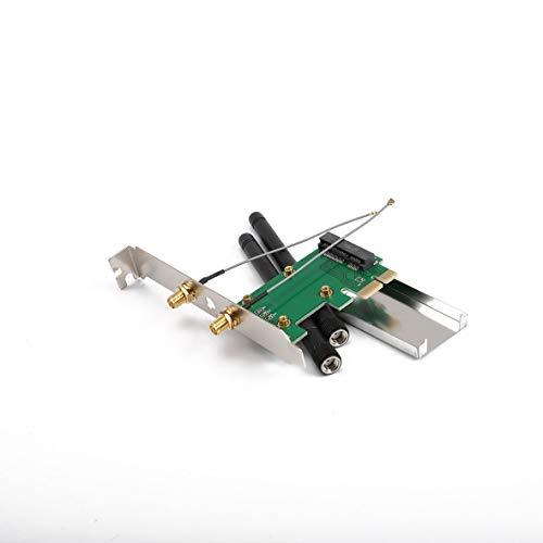 Monllack 802.11n Mini Wireless WiFi PCI-E auf Mini PCI PCI-E WLAN Adapter Erweiterungsnetzwerkkarte mit 2 Antennen WiFi Konverter -
