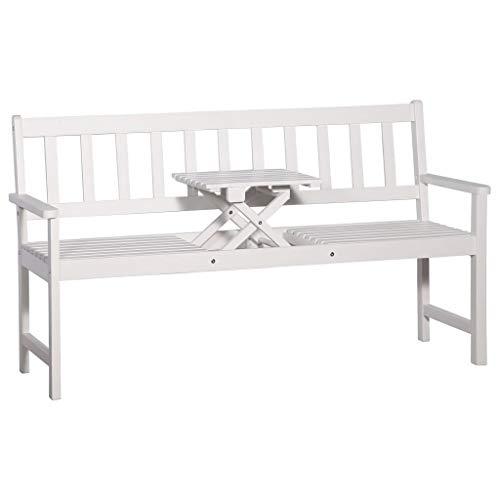 vidaXL Akazie Gartenbank mit Tisch 3er Weiß 158cm Holzbank Sitzbank Parkbank