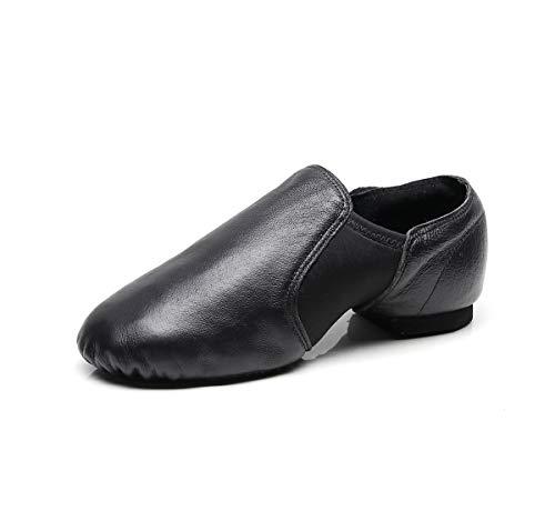 men Tanzschuhe Sportschuhe aus Weichem Leder Dance Schuhe mit Schweinsleder Jazz Schuhe zum hineinschlüpfen Geteilter Sohle für Kinder, und Erwachsener in Gr.35-42 ()