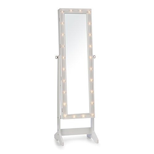 Oneconcept Smilla • Jewelery Box • Tilt Mirror Case • Swivel Furniture with Mirror • Mirror Full Body • 24 LED Lighting • Lock • 47 x 147 x 37 cm • 18 kg • White