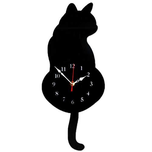 Bestmemories Kreative Cool Katze Hängende Uhr Acryl Wanduhr mit Pendel für Schlafzimmer Küche Zuhause weiß