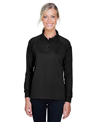 Harriton Womens Tactical Long-Sleeve Performance Polo (M211LW) -Black -L Lower Side Vent