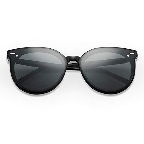 Mode Platte Sonnenbrillen weiblich Neue runde Schwarze große Brille Männer schwarzer Rahmen grau Objektiv UV400 Schutz Brille