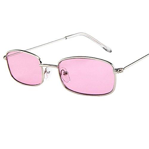 FeiliandaJJ Damen Herren Sonnenbrille Vintage Mode Kleiner Rechteckiger Rahmen Retro Unisex Sunglasses Brillen für Autofahren Reisen Golf Party Outdoor (H)