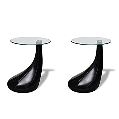 Living Room Glass Coffee Tables Glossy Black - Set of 2