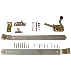 Torbeschlag Set für Gartenzaun Einzeltor aus Stahl, gelbverzinkt inklusive Bänder, Türöffner und Montagematerial