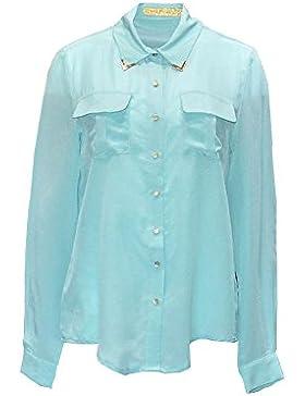 Penélope camisa, 100% seda con bolsillos de parche, botones de oro de satén en el frente y puños, detalle de metal...