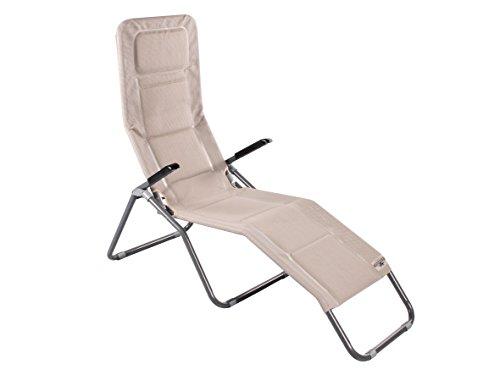 Meerweh Bäderliege extra hoch Sitzhöhe ca. 43 cm Sonnenliege Gartenliege Liege Aluminium Saunaliege beige