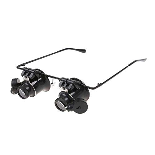 Heaviesk Maikou 20X Lupe Brillen Juwelier Reparatur Brillen Uhr Reparatur Lupe LED-leuchten Brille Lupe Linse (Juweliere Brille)