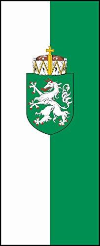 Hissfahne im Hochformat Steiermark mit Wappen 150 x 400 cm