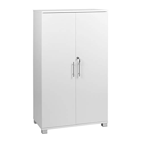 Armadietto da ufficio bianco a 2 ante con serratura, altezza 120 cm
