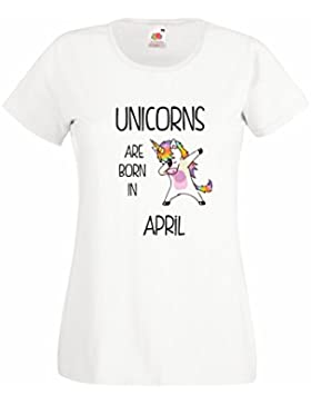 Settantallora - T-shirt Maglietta donna J2075 Unicorns Are Born In Aprile