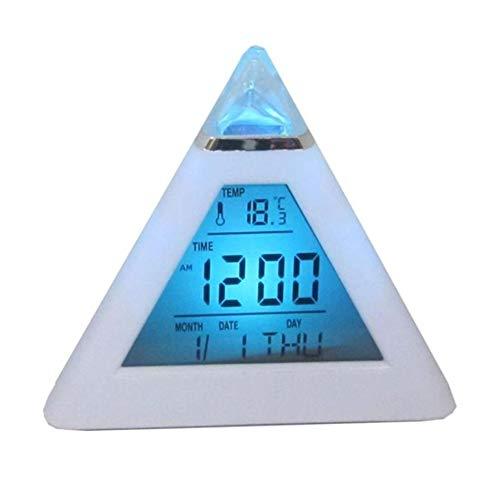 n-LED-Hintergrundbeleuchtung, Digital-Anzeige, Uhrzeit, Thermometer, Wecker, Pyramidenden-Thermometer, ewiger Kalender, Uhr, LED-Farbhintergrund, Digitale Uhr Multi ()