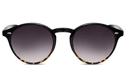 Cheapass Sonnenbrille Schwarz Braun UV-400 Rund-e Designer-Briller Retro Plastik Damen Herren