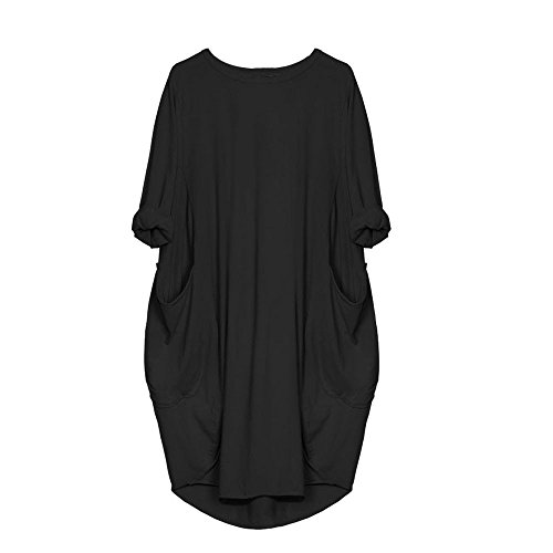 VEMOW Damenmode Tasche Lose Kleid Damen Rundhalsausschnitt beiläufige Tägliche Lange Tops Kleid Plus Größe (48 DE/XL CN, Schwarz)