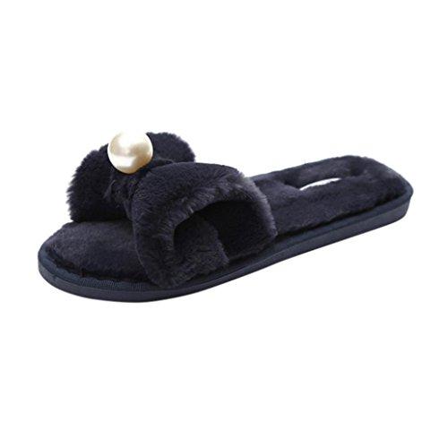 Rawdah Claquette Femme Glissez Sur les Diapositives Fluffy en Fausse Fourrure Plat Slipper Flip Flop Sandal Tongs Chaussures Noir