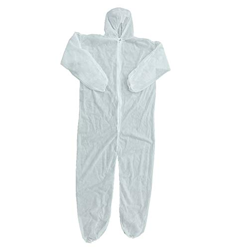 PETUNIA Security Protection Clothes Disposable Coverall Dust-Proof Clothing Nonwovens - White(L)