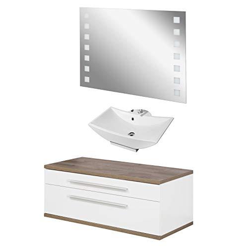 FACKELMANN weisses Badmöbel Set Aufsatzwaschbecken hängend & LED Badspiegel 110 cm 3 teilig