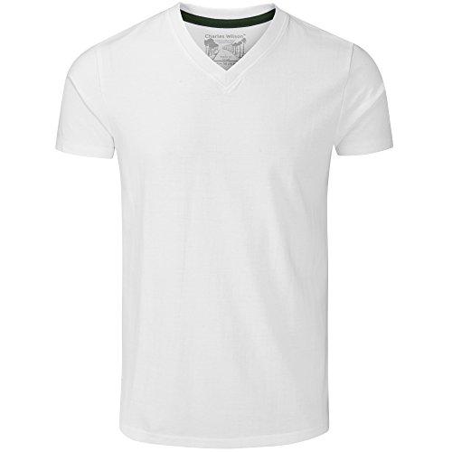 Charles Wilson 5er Packung Einfarbige T-Shirts mit V-Ausschnitt (Large, Weiß) - 3