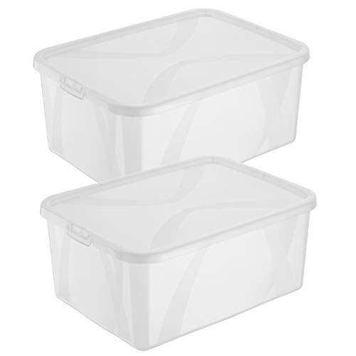 2er Set Aufbewahrungsboxen arco mit Deckel, 10 Liter, Kunststoff, transparent