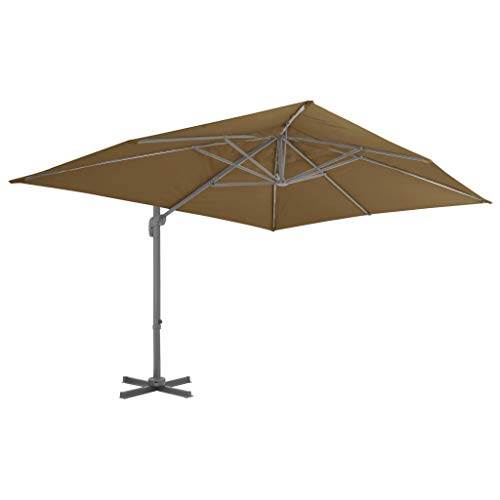 Festnight- Alu-Ampelschirm 400 x 300 cm Taupe | Sonnenschirm Gartenschirm Marktschirm UV-Schutz | Schirm mit Aluminium-Mast | Kipp- und 360 ° drehbares Design