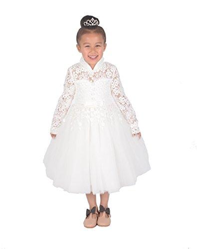 Cinda Elfenbein Spitze Brautjungfer Kleid Blumenmädchen Kleid Langer Ärmel aus Elfenbein 98-104 (Kleider Blumenmädchen Elfenbein Satin)